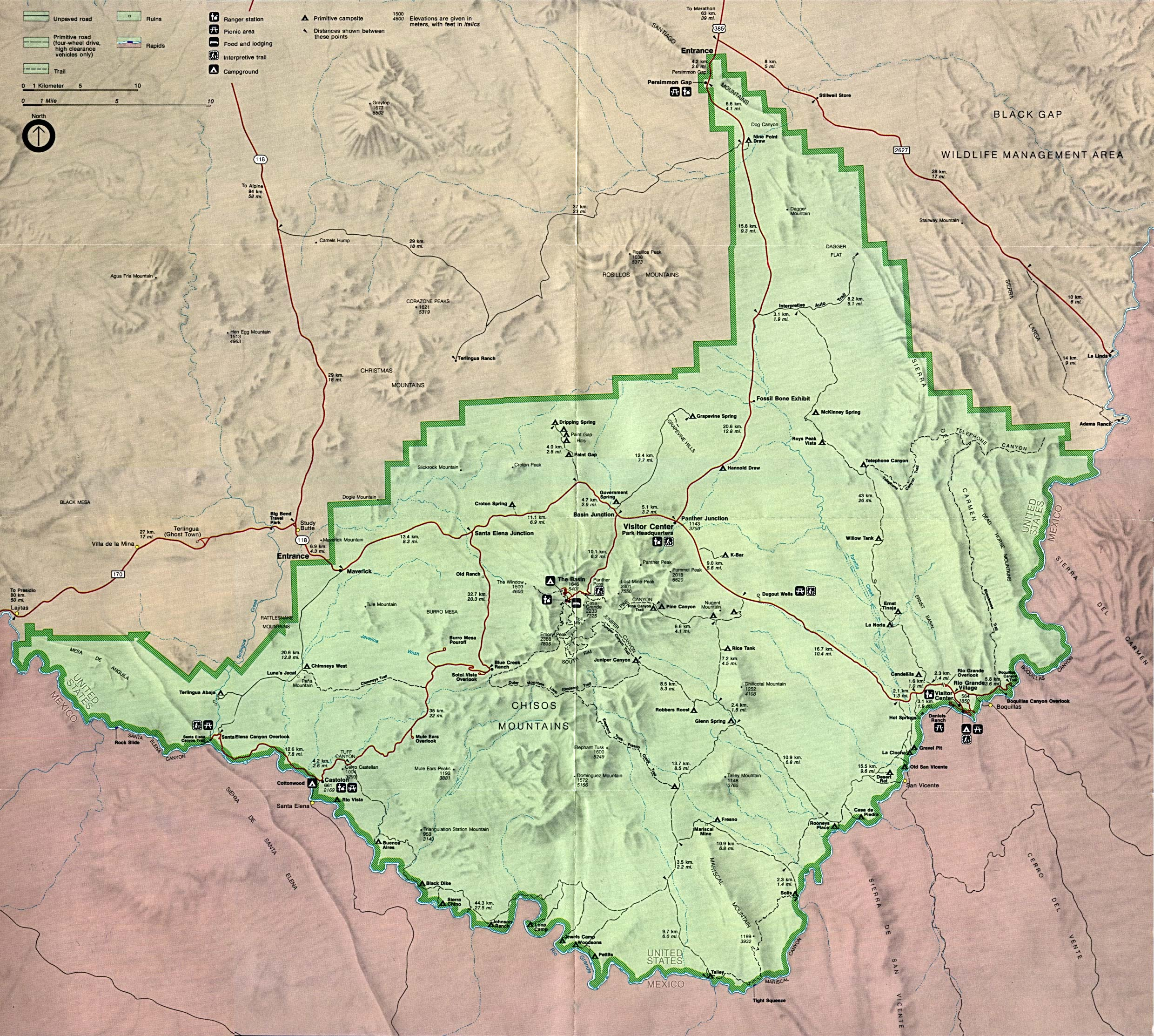 Big Bend National Park Park Map