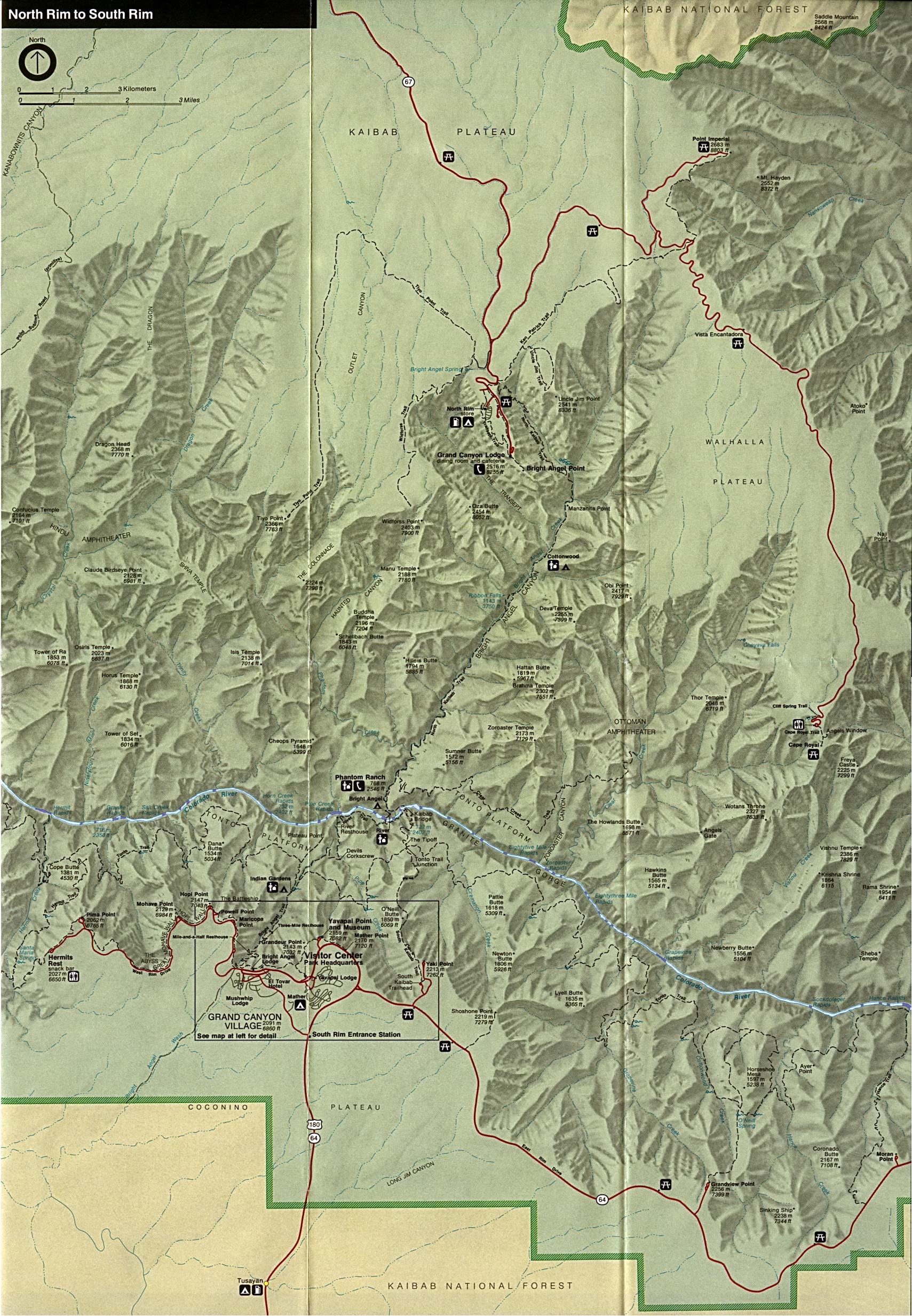 Reisenett arizona maps grand canyon national park eastern area shaded relief map sciox Choice Image