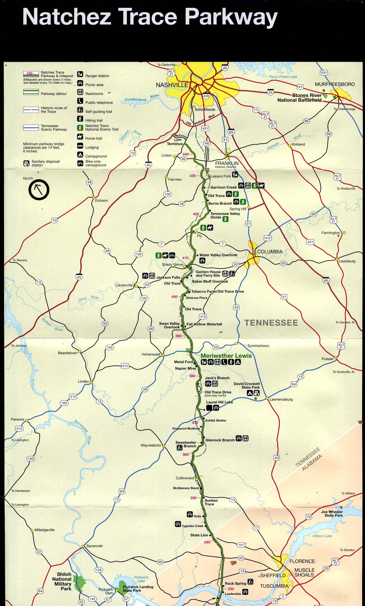 Natchez Trace Parkway Elevation Map.Reisenett Alabama Maps