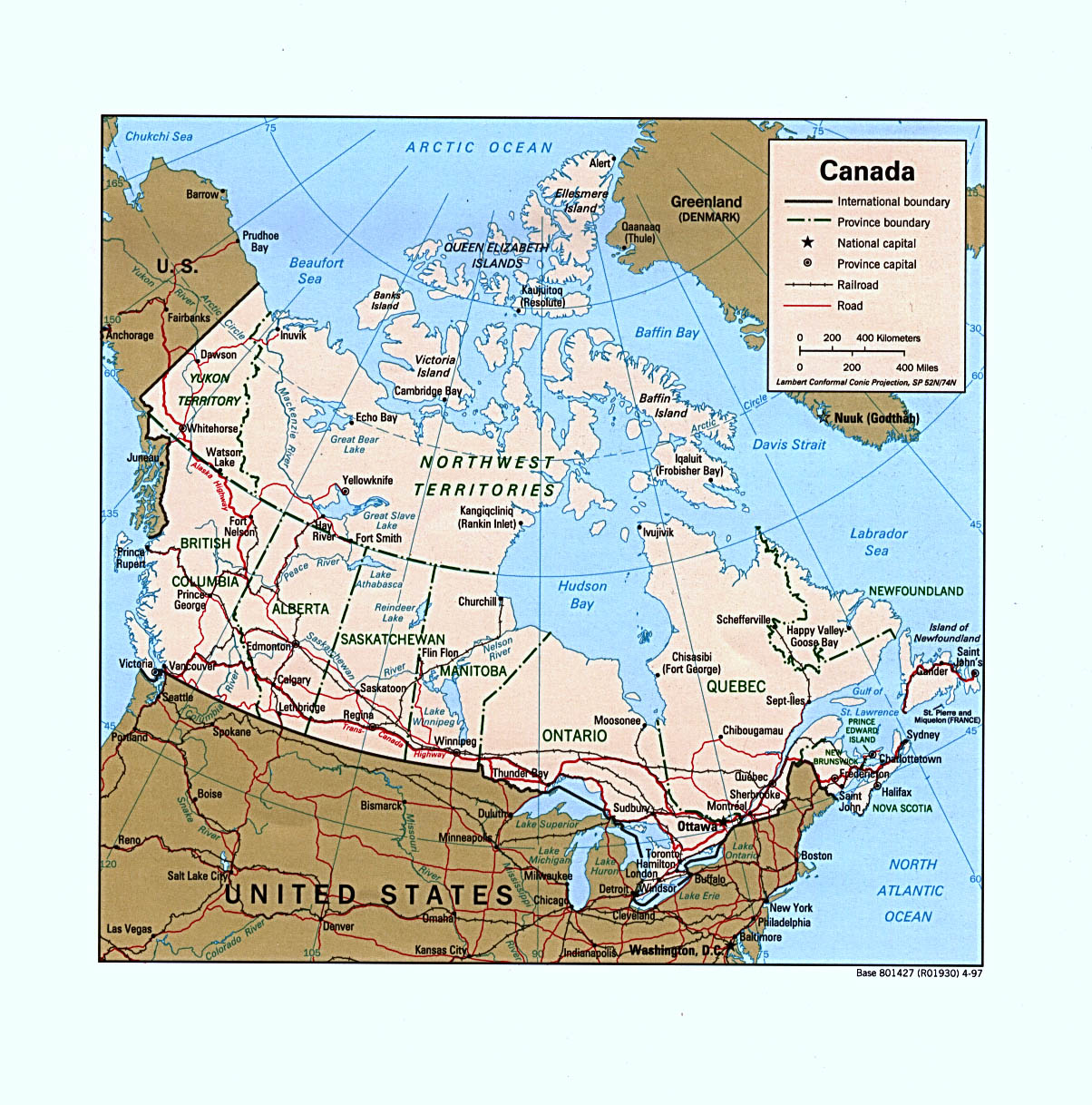 Reisenett Canada Maps - Map of canada and northern us