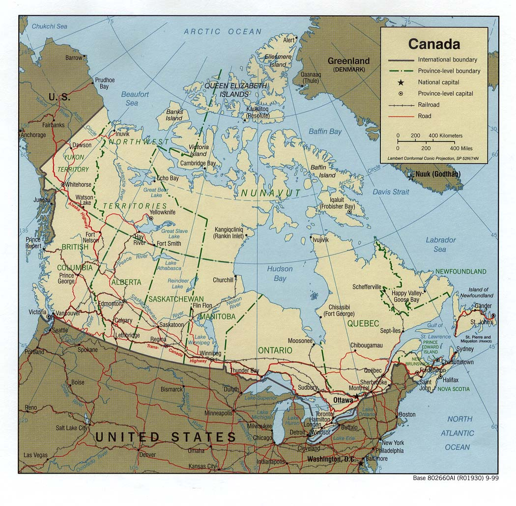 Reisenett Canada Maps - Map canada and us