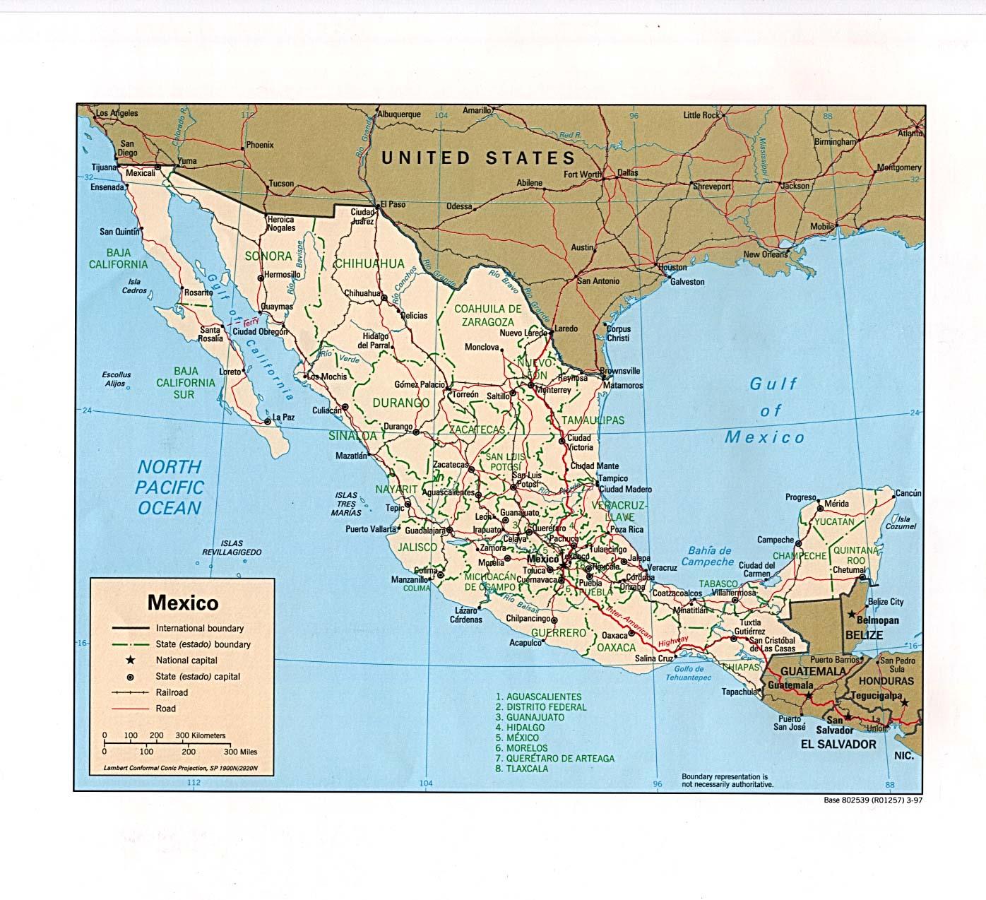 Reisenett mexico maps mexico political 1997 315k sciox Gallery