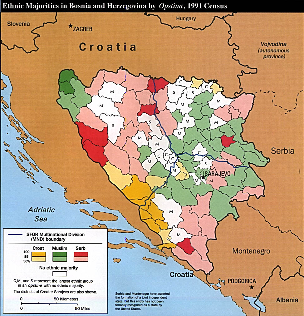 Reisenett Bosnia Maps - Serbia clickable map