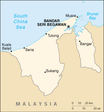political map of brunei. Brunei Darussalam (Small