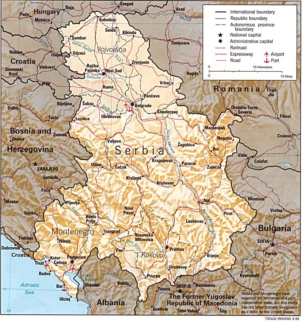 Reisenett Serbia and Montenegro Yugoslavia Maps
