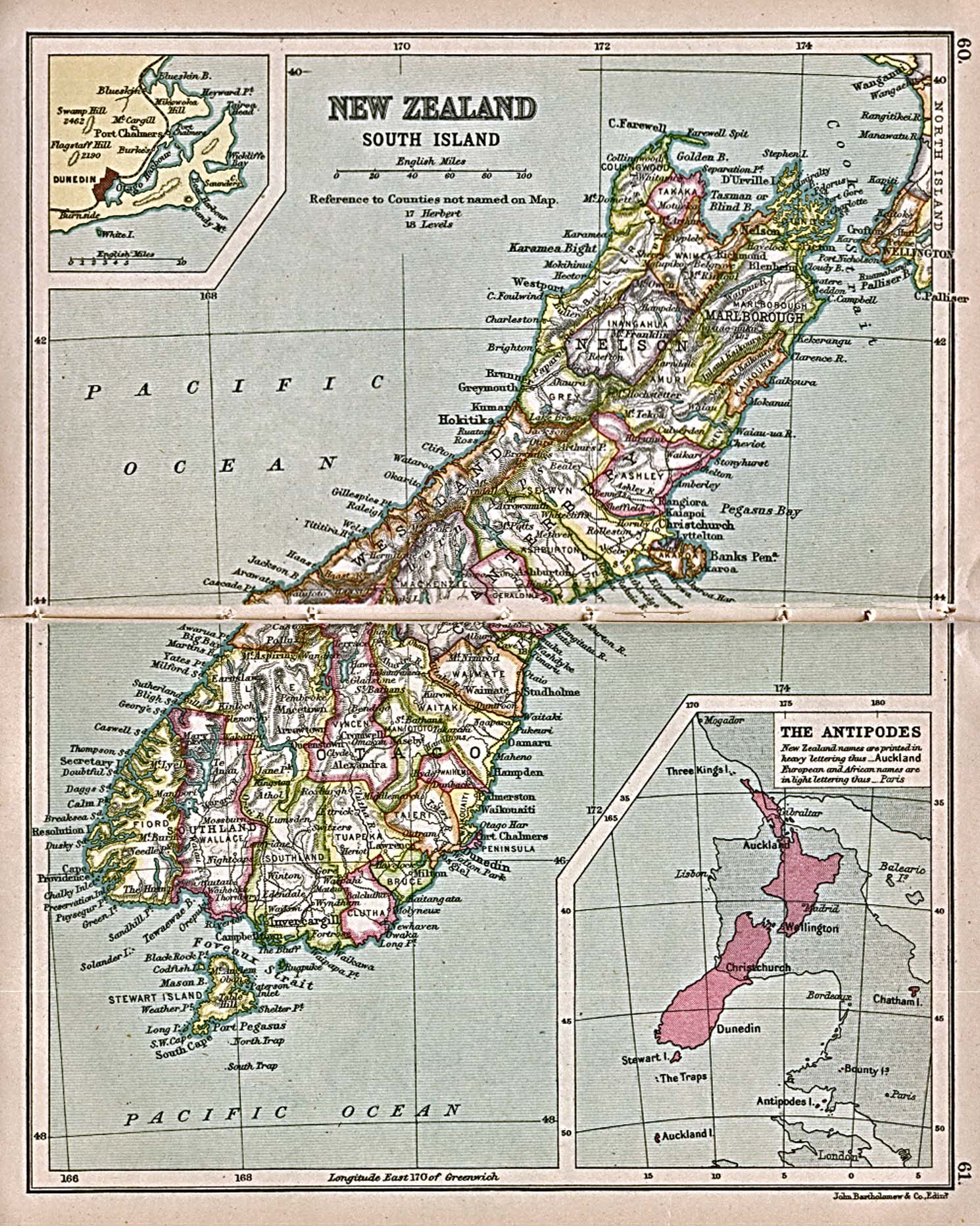 Reisenett historical maps of australia and the pacific new zealand south island 1913 sciox Gallery