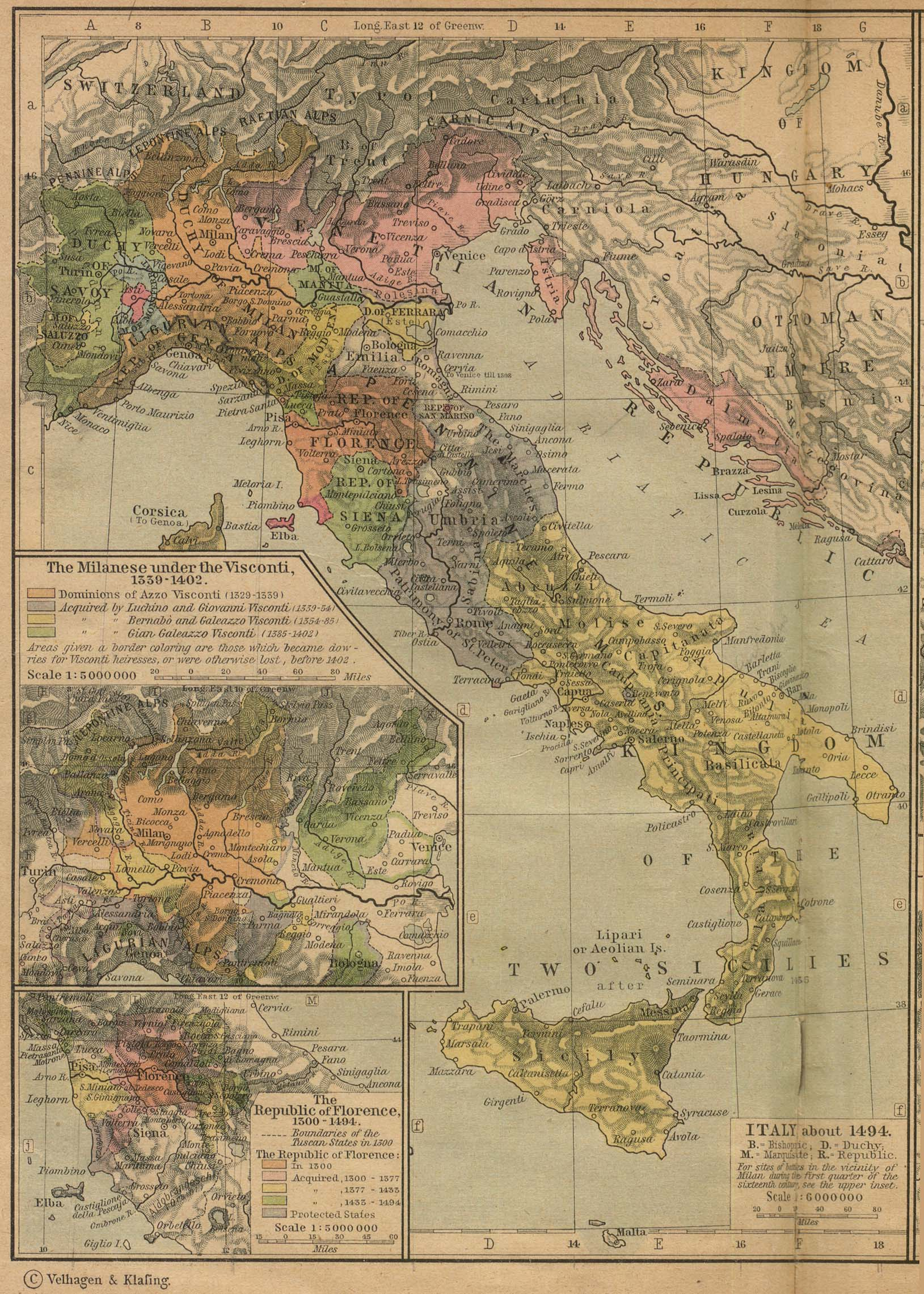 Reisenett historical maps of europe italy about 1494 gumiabroncs Images