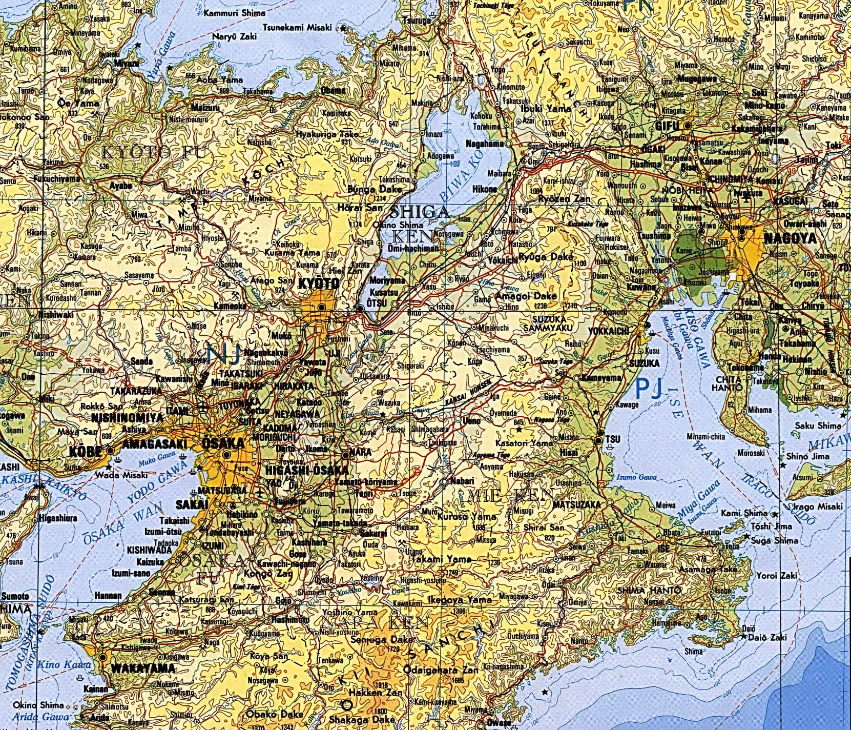 u s defense mapping agency 1977 824k osaka kyoto nagoya region topographic