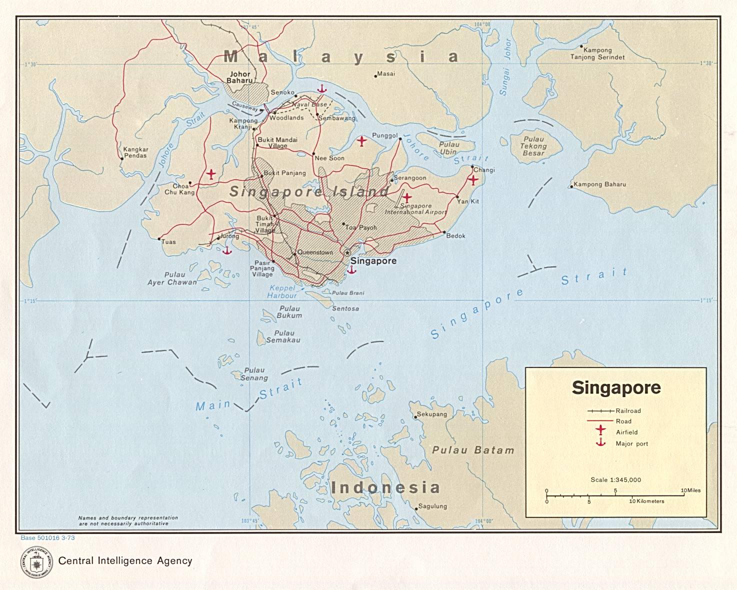 Reisenett Maps Of Asia - Singapore map 1990