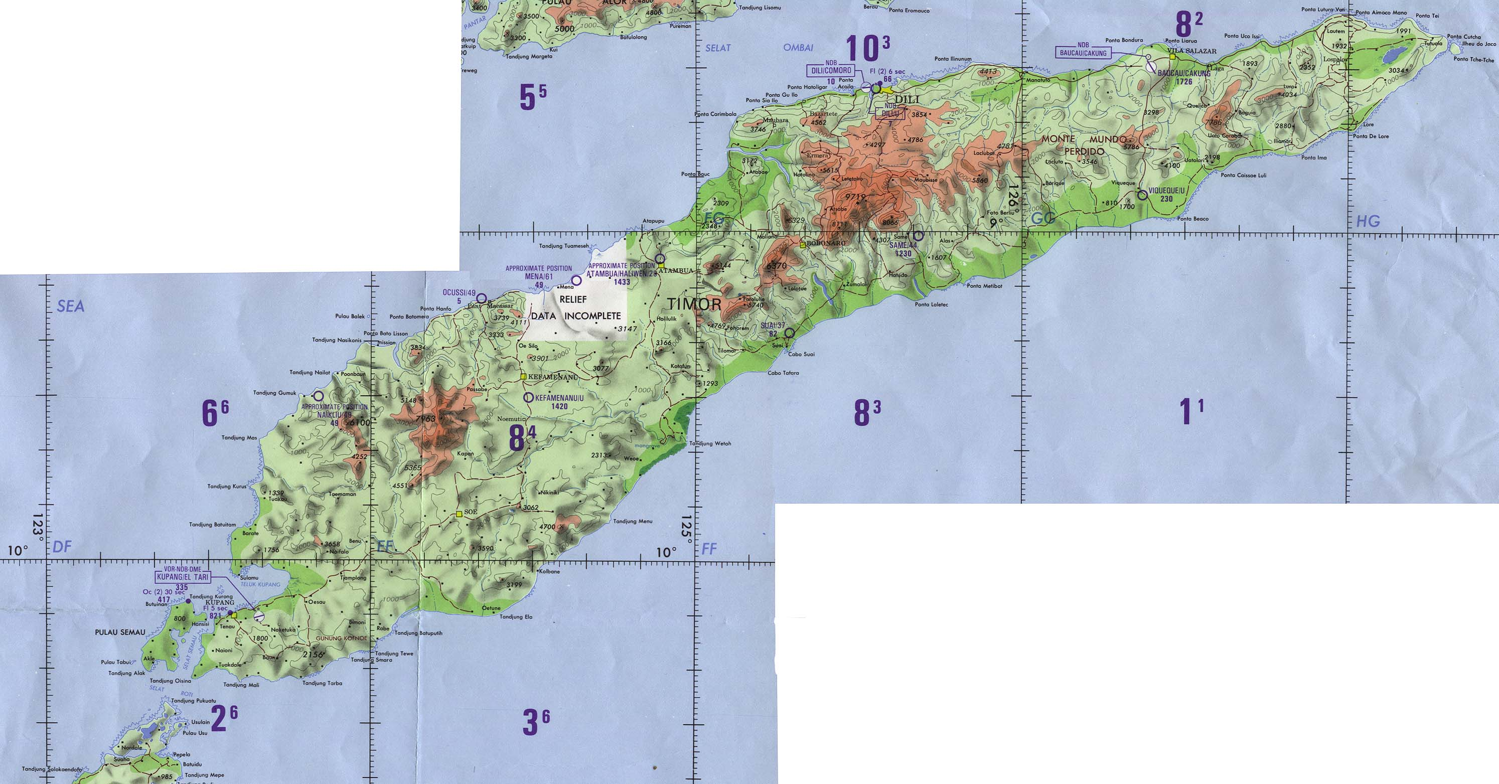 timor operational navigation chart original scale 1 1 000 000 portion of defense mapping agency onc