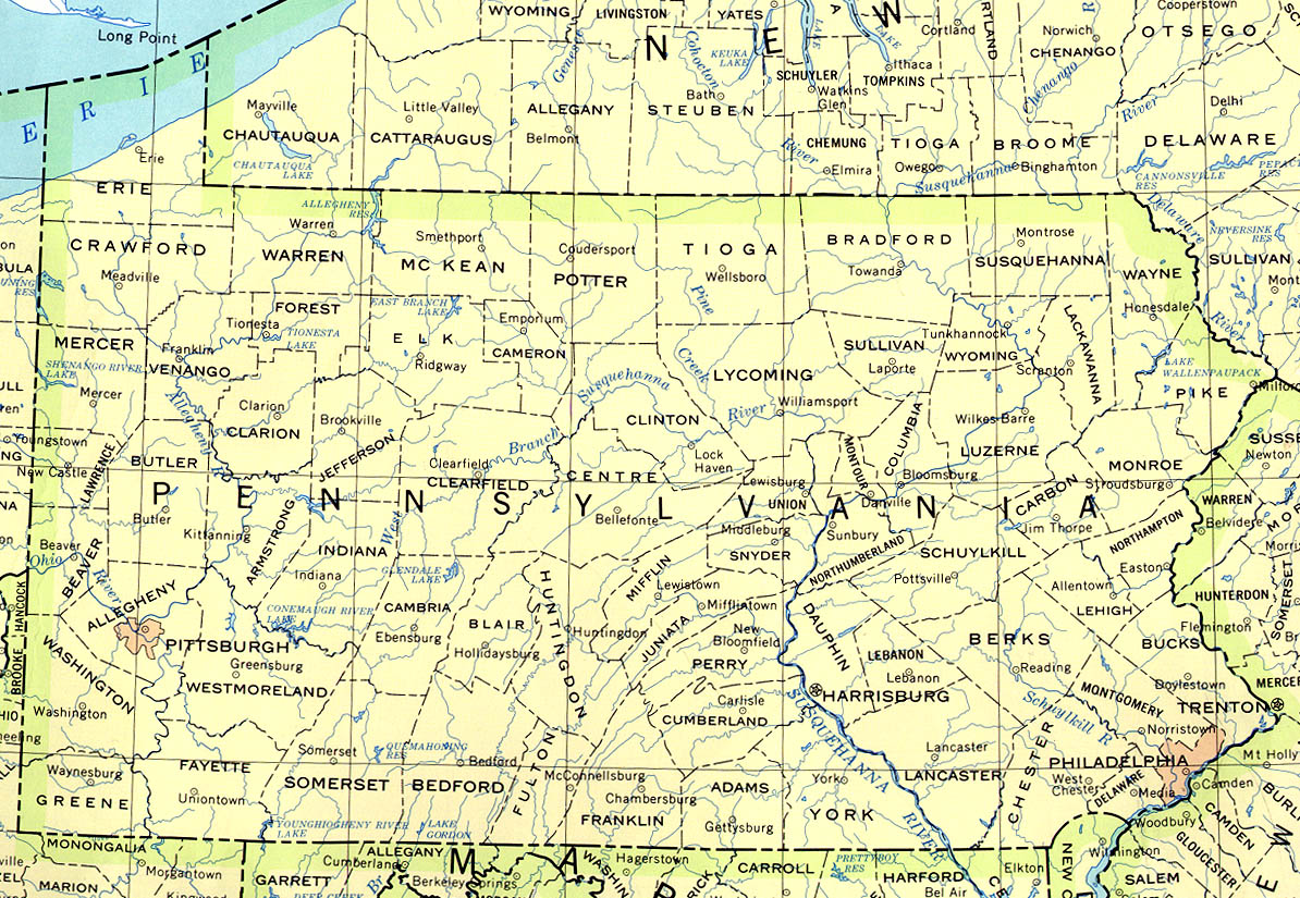 United States Map Pennsylvania